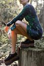 Black-tuk-shoes-dark-green-gabby-dress-motel-dress-gold-galisfly-ring