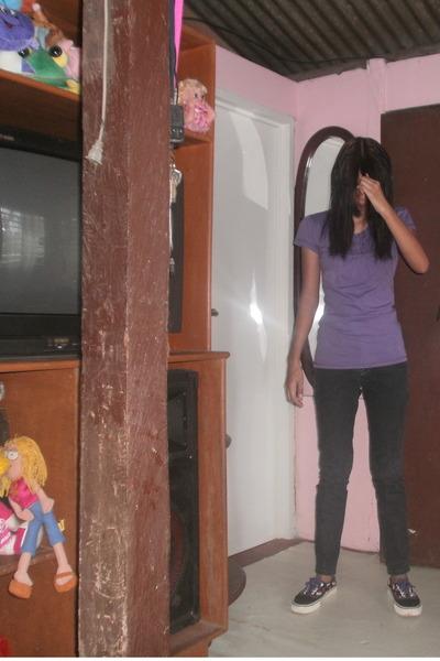 deep purple department store shirt - black pants - black Vans shoes