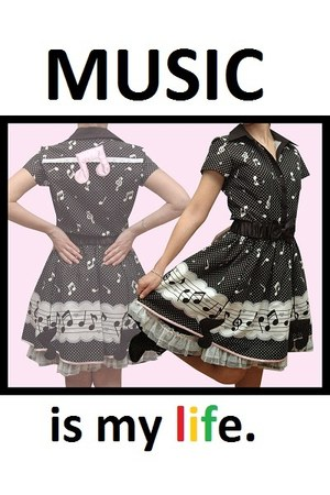 black music printed dress
