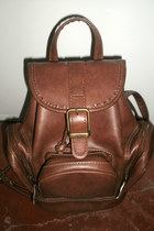 brown small backpack bag