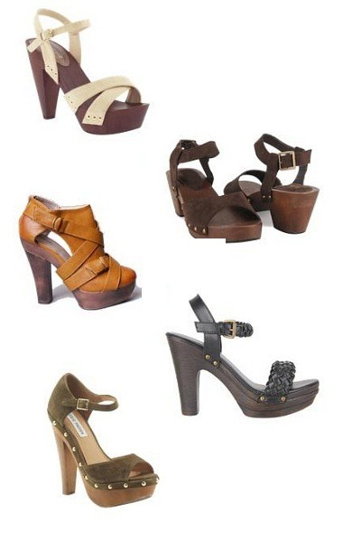 wooden platform clogs - colorful sandals - loafers - silver wedges