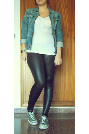 navy vintage jacket - black vinil Zara leggings - white Oysho shirt