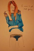 sky blue blouse - teal panties
