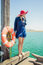 woven Forever 21 hat - polka dot kirra dress