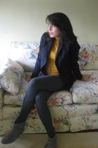 black J Crew blazer - gold H&M shirt - gray Forever 21 leggings - gray Kimchi&Bl