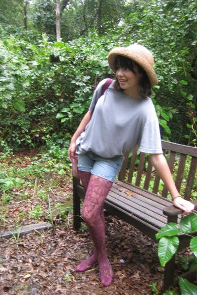 Gap t-shirt - Aeropostale jeans - hat - garment district tights - Columbia Pictu