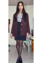 brown vintage coat - white animal print Mango top