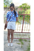 blue Topshop blouse - tawny vintage bag - white united colors of benetton shorts