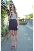 black vintage skirt - cream Topshop sunglasses - hot pink Prima Donna clogs