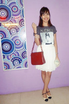 white Alberta Ferretti skirt - brick red Prada bag - eggshell Topshop flats
