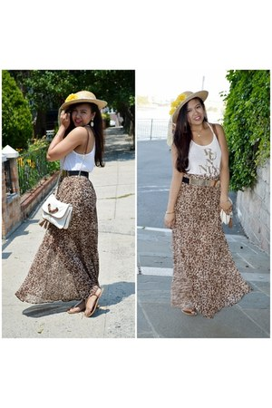 white Shoulder Bag bag - brown maxi skirt skirt