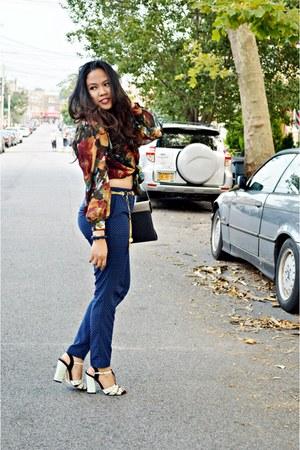 brown versace blouse - charcoal gray bag - aquamarine heels