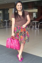 flea market skirt - Forever 21 shoes - Parisian bag - Forever 21 blouse