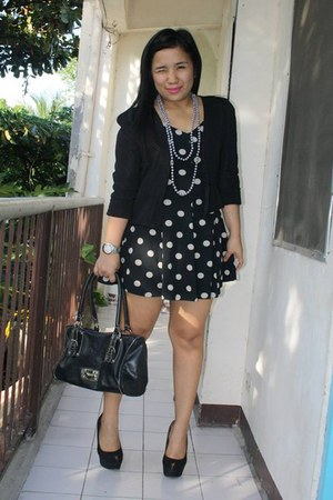 Forever 21 blazer - flea market dress - Nine West bag - AW Boutique necklace