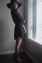 wool American Apparel hat - silk T Babaton dress - mid-heel Zara sandals