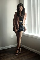 black leather Zara shorts - peach Forever 21 blazer