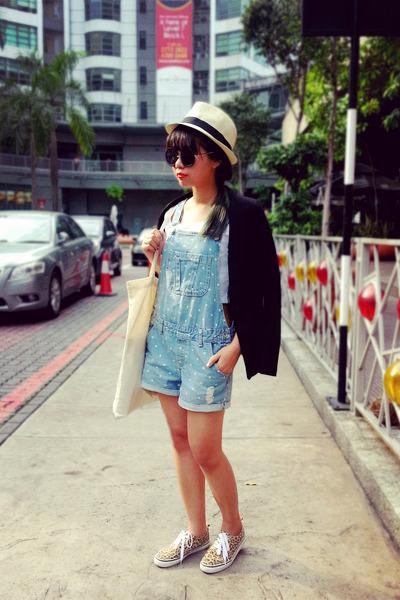 beige straw fedora H&M hat - black H&M blazer