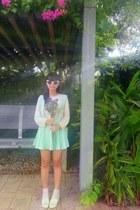 light pink H&M sweater - light pink H&M socks - white flower diva sunglasses