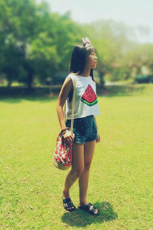 red H&M bag - blue just B shorts - black H&M sandals