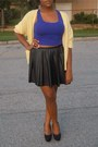 Pleather-h-m-skirt-cropped-h-m-top-knit-value-village-cardigan-earrings