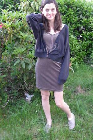purple H&M dress - navy irene van ryb blazer - periwinkle Tropezienne flats
