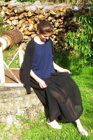 black asos skirt - black Zara cardigan - navy made in france top