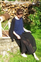 black asos skirt - black Zara cardigan - navy made in france top
