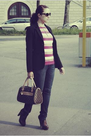 vintage blazer - vintage bag - Pimkie clogs - Terranova cardigan - asos glasses