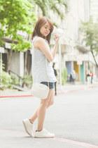 white Bershka bag - navy denim shorts shorts - light blue denim top top
