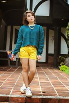 white Adidas sneakers - teal Forever 21 sweater - yellow shorts