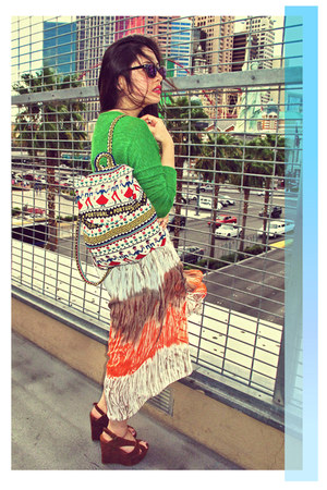 dknstrkt bag - green Sparkle & Fade sweater - dknstrkt skirt