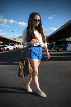dark brown Louis Vuitton bag - sky blue cheeky scout BDG shorts