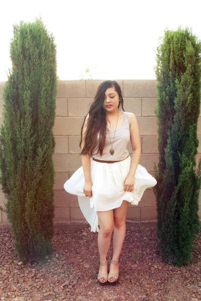 beige wooden Qupid wedges - ivory asymmetrical StyleSofia skirt