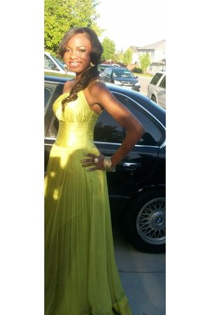 green Jovani dress - gold earrings - gold accessories