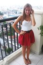 Red-zara-skirt-white-hering-t-shirt-beige-shoes-brown-belt