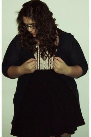 navy American Eagle cardigan - crimson Forever 21 shirt - black Mossimo skirt -