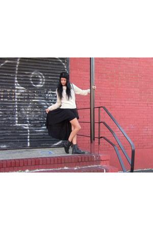 black turban H&M hat - ivory knitted H&M sweater - black asymmetrical H&M skirt