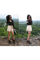 litas Jeffrey Campbell shoes - high-waisted H&M shorts - lace American Apparel t