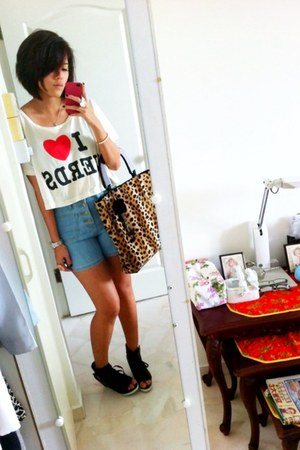 bought online shoes - bag - FYI shorts - bought in bangkok top