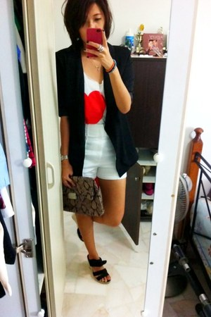 LUCYD ACYD blazer - asos purse - bysi shorts - Forever 21 top - black wedges Zar
