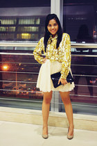 gold scarf-printed top - beige sequined Zara skirt - tan pumps Bershka heels