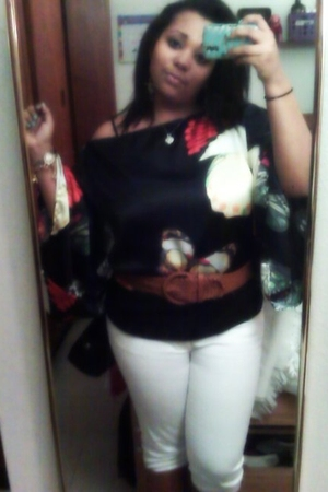 black Rave top - white Jcpenny jeans - orange unknown accessories - Got them fro
