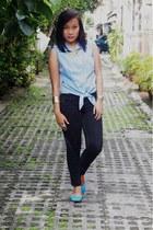aquamarine thrifted top - aquamarine Primadonna flats - black Levis pants