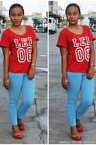 blue ankle Lee pants - red loose Lee top - hot pink neon thrifted accessories