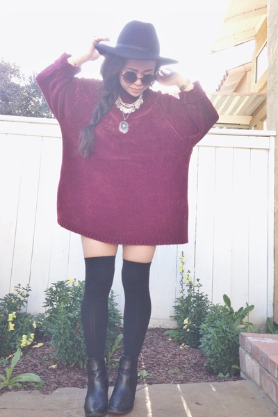 burgundy thrifted sweater - H&M shoes - Target hat - American Apparel stockings