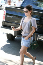 green purse - purple blouse - shorts - belt - Ray Ban sunglasses