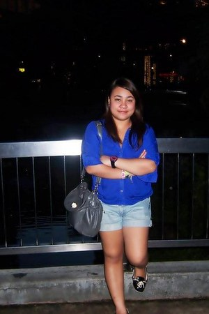 Charles & Keith shoes - Billabong bag - Guess shorts - royal blue polo Zara top