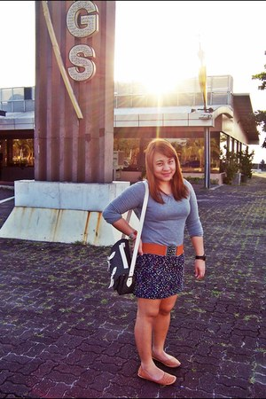 Mango bag - gold brown Bershka shoes - gray-darkblue Topshop dress