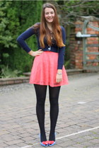 hot pink H&M dress - navy Zara cardigan - sky blue vivienne westwood heels