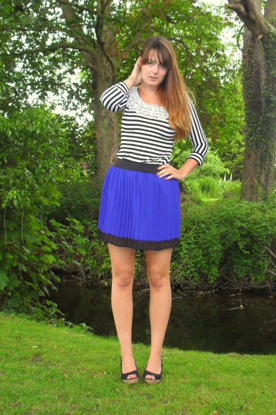 black Republic top - blue Primark skirt - navy new look wedges